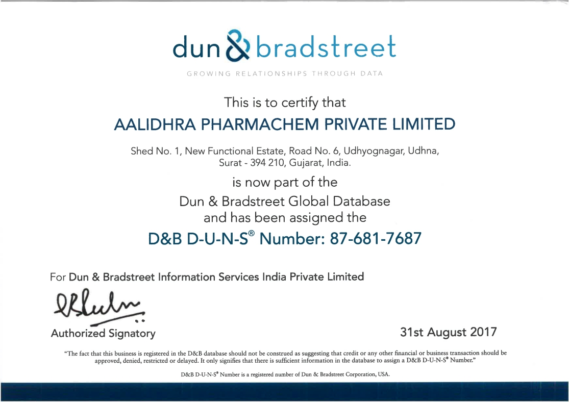 Aalidhra pharmachem pvt ltd pharma intermediates and api dunbradstreet certificate xflitez Gallery